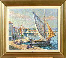 """Huile sur toile """"Coin de port animé"""". Signé en bas à gauche L. Neuquelman. Ecole française. Dim.:54,5x65,5cm."""