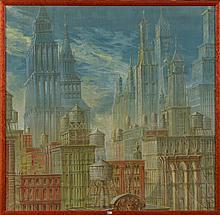 """Huile sur toile """"Paysage urbain"""". Signé en bas à droite T. Bosquet et daté 1984. Ecole belge. Dim.:114x116cm."""