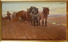 """Huile sur toile marouflée sur toile """"L'attelage de chevaux de trait"""". Signé"""