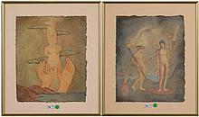 """EEMANS Marc (1907 - 1998) - """"Nus et mains vers le ciel"""", encre et aquarelle sur pa"""