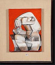 "JUNG Simonetta (1917-2005). Huile sur toile ""Homo"