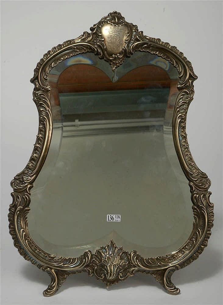Miroir poser chantourn de style louis xv en argent 950 10 for Miroir louis xv