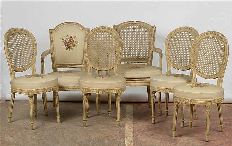 s 233 rie de quatre chaises cann 233 es de style louis xvi en bois s