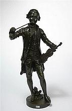 """HERCULE Benoît Lucien (1846 - 1913) """"Le jeune Mozart au violon"""" en br"""