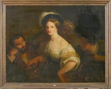 """Huile sur toile marouflée sur toile """"La jeune courtisane"""". D'après Xavier Sigalon. Epoque: XIXème. ("""