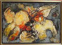 """JUNG Simonetta (1917 - 2005) Huile sur toile """"Tensine farmativa"""". Sign"""