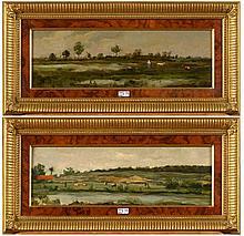 DE SCHAMPHELEER Edmond (1824 - 1899) Paire d'huiles sur panneau de chê
