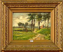 BREUGELMANS Auguste (XIXème-XXème) Huile sur panneau d'acajou