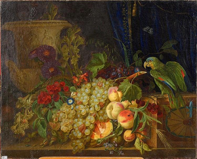DE HEYDER Pierre Jean  (XIXème) Huile sur toile partiellement marouflé