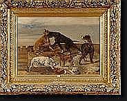 """STEVENS Joseph (1819-1892). Huile sur toile """"Les"""