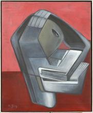 """JUNG Simonetta (1917 - 2005) Huile sur toile """"Mudra"""". Signé en bas à g"""