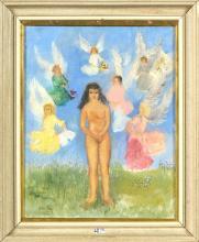 """FREY Alice (1895 - 1981) Huile sur toile """"Nu féminin entouré d'anges""""."""
