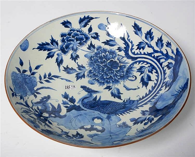 Grand compotier rond en porcelaine bleue et blanche de chine - Applique porcelaine blanche ...