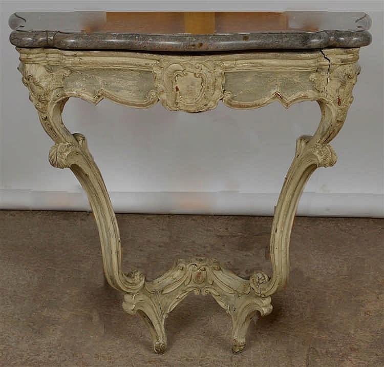 Petite console de style Louis XV en bois sculptéà patine bl # Petite Console Bois