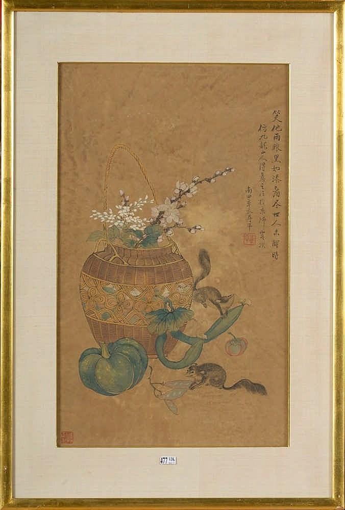 Panier fleuri aux rats peinture sur papier travail chino for Peinture sur papier