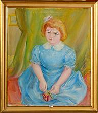 """VAN ANDERLECHT Engelbert (1918 - 1961) - Huile sur toile """"Portrait de Chris"""