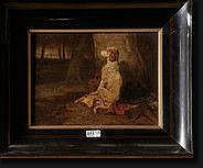 """STEVENS Joseph (1812-1892). Huile sur toile """"Chien"""