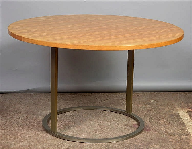 Table ronde en bois de placage pi tement en m tal chrom t for Table bois metal rallonge