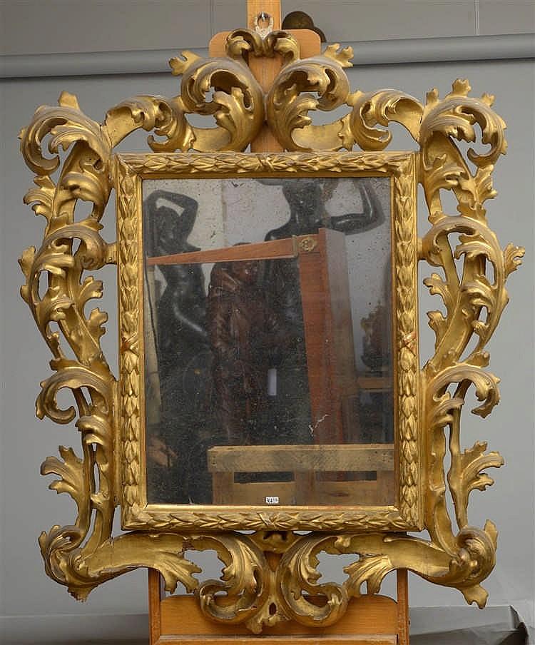 grand miroir chantourn en bois sculpt ajour et dor au d On grand miroir dore