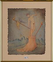 """""""Homme nu sur un pied"""", encre et aquarelle sur papier. Signée en bas à droi"""