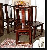 S rie de quatre chaises en bois exotique travail - Chaise en bois exotique ...