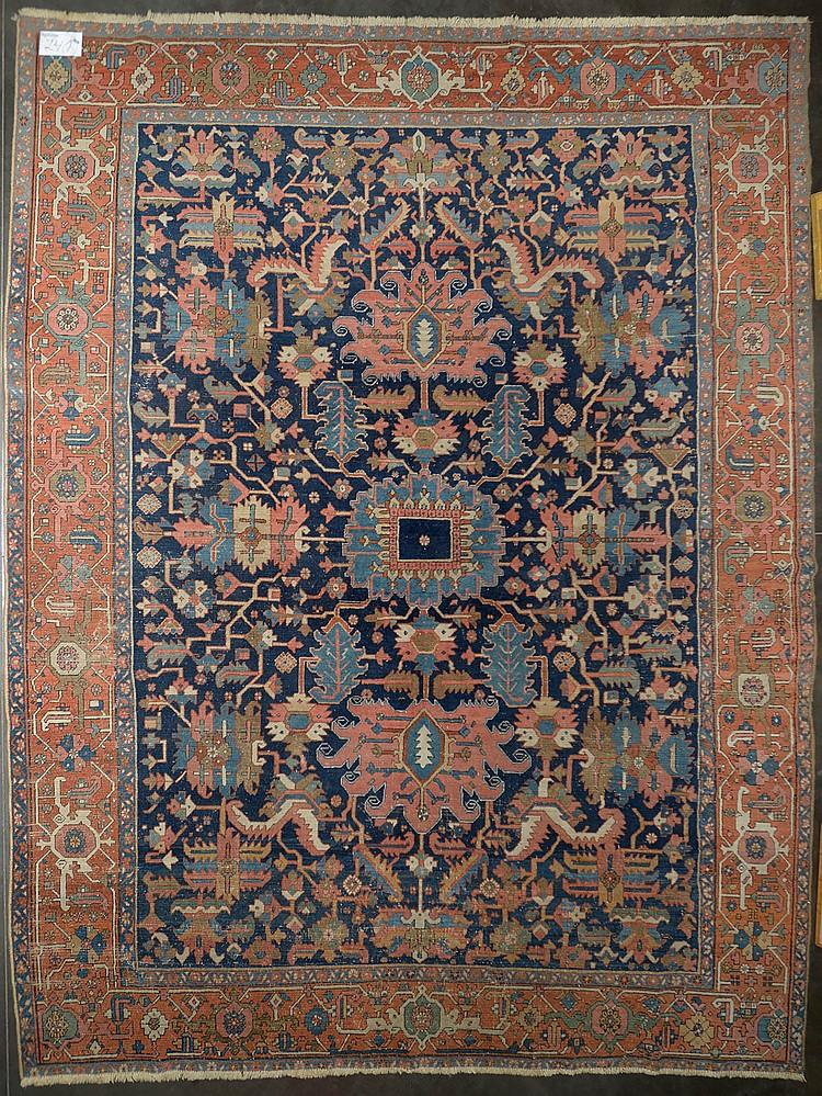 grand tapis h riz au d cor floral stylis epoque fin xix. Black Bedroom Furniture Sets. Home Design Ideas