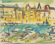 Antoine FERRARI (1910-1995). « le port de Marseille ». Gouache sur papier signée en bas à gauche. 3