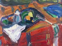 """Antoine FERRARI (1910-1995). """"Nature morte"""" (composition). Au dos étude de nu. Huile sur panneau si"""