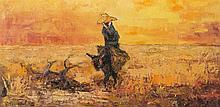 "Roger VANDENBULCKE (1921) ""Homme sur un âne""."