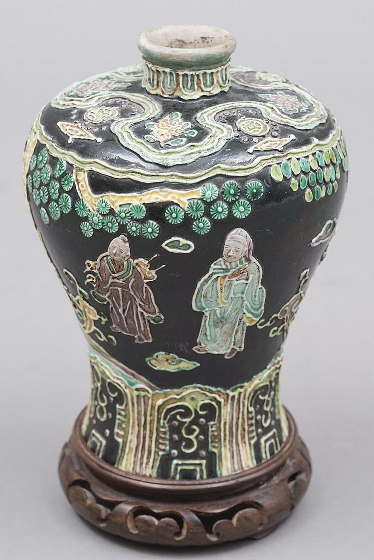Vase col cintr en porcelaine de chine fond noir epoque for Porcelaine de chine
