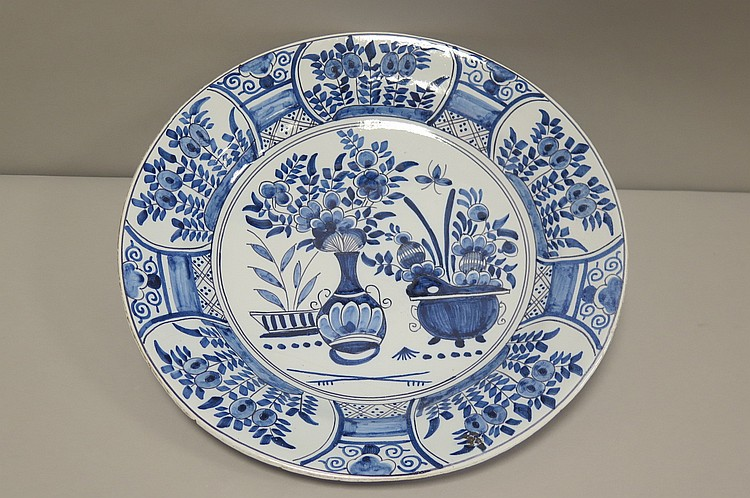 Delft faience de fin xviii d but xix si cle plat l g rem for Faience 11x11 blanc