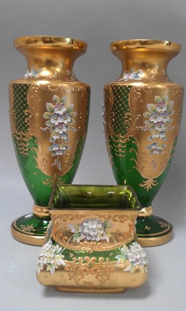 murano xx paire de vases en verre souffl h 27cm on y j. Black Bedroom Furniture Sets. Home Design Ideas