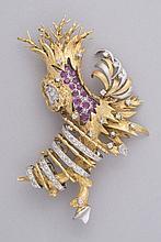 BROCHE en forme d'arbre en or jaune 14 cts sertie de rubis et diamants. Année 1960 Pb 24.9 g