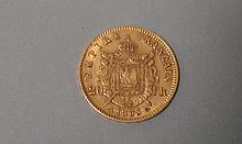 PIECE de 20F en or datée de 1863. Lettre date A. A l'effigie de Napoléon III, Empereur des français. Poids 6,4g
