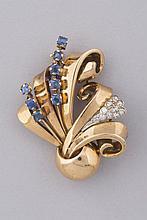 BROCHE en or jaune 18 cts avec petits brillants et pierres bleues. Pb 11g
