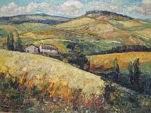 """René PEYRANNE (1910) """"Champs de blé à Hauterive, Drôme, 1967"""" Huile sur toile signée en bas à gauche, titrée, datée et signée au dos 81x116cm (craquelures)"""