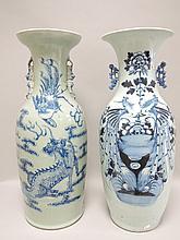 CHINE (XIX°) Deux VASES, l'un à fond céladon à décor de chimères et de phoenix et l'autre à fond blanc H 59cm