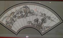 CHINE (XIX°). EVENTAIL encadré sous verre à décor peint en grisaille de paysages montagneux et rivière. Inscriptions et cachet rouge, signature de Hu Zhang. Vendu ensemble avec - CHINE, XX°. EVENTAIL encadré sous verre à décor peint d'un oiseau