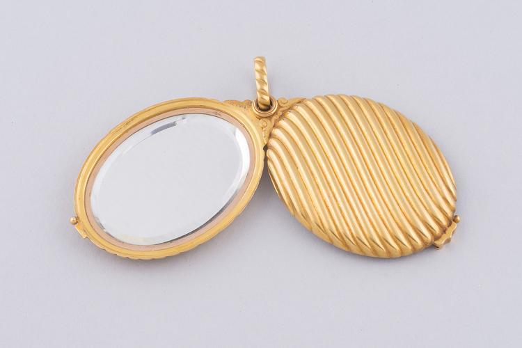 Pendentif en or jaune 18k 750 000 avec deux miroirs dont un for Miroi log in