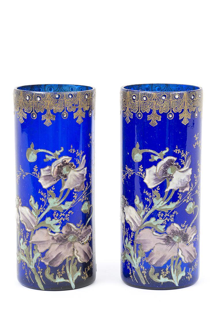 Paire de vases en verre bleu d cor maill d 39 an mones for Decoration vase en verre