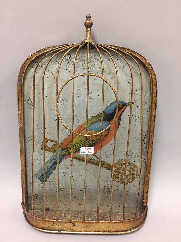 Trompe l 39 oeil en forme de cage oiseau avec fix sous verre for Cage a oiseau decorative