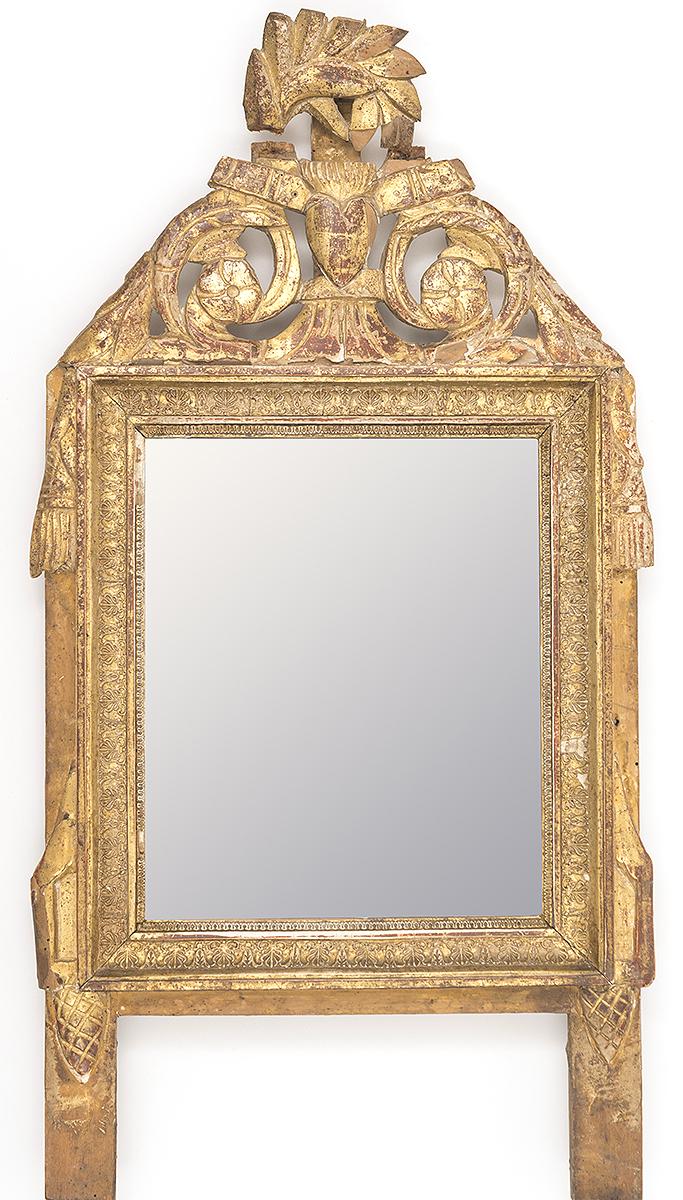 Petit miroir fronton en bois dor et sculpt for Petit miroir dore