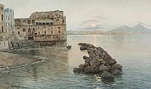 """Fausto GIUSTO (1867-1941) """"Palais Donn Anna, Naples"""" Huile sur toile signée en bas à gauche. 46 x 76 cm important cadre en bois doré sculpté"""