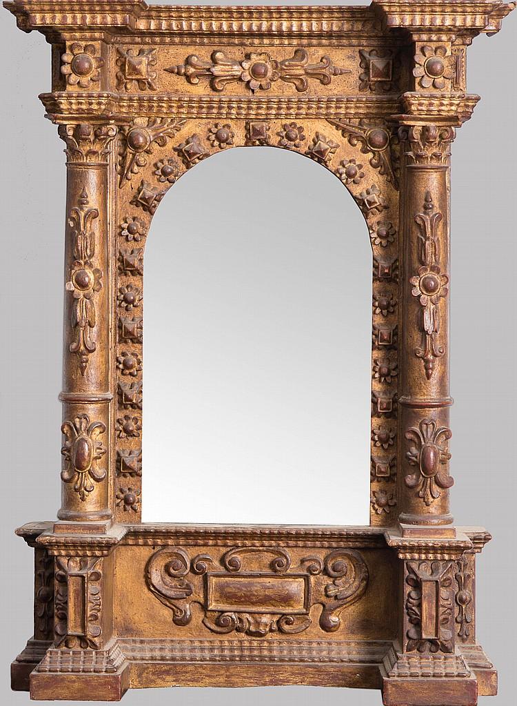 miroir dans un cadre en bois dor et sculpt avec colonnes e. Black Bedroom Furniture Sets. Home Design Ideas