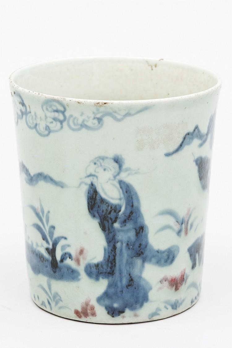 chine dynastie qing pot a pinceaux en porcelaine bleu et b. Black Bedroom Furniture Sets. Home Design Ideas