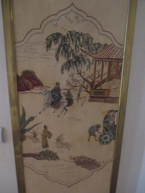 panneau peint sur bois d cor de chinoiseries. Black Bedroom Furniture Sets. Home Design Ideas