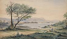 """Jules DEFER (1803-1902) """"Vue de la rade de Toulon"""" AQUARELLE signée en bas à droite."""
