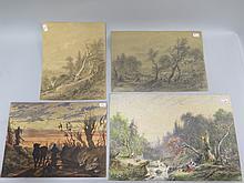 Jules DEFER (1803-1902) 4 DESSINS dont trois sur papier et un sur carton au crayon et aquarelle figurant des scènes de nature.