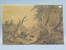 Jules DEFER (1803-1902) 2 DESSINS à l'encre sur papier figurant des bergers et animaux dans la forêt.