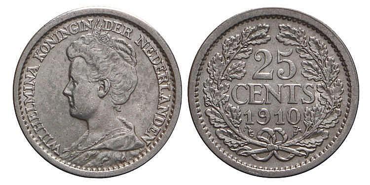25 Cent Wilhelmina 1910 Prachtig